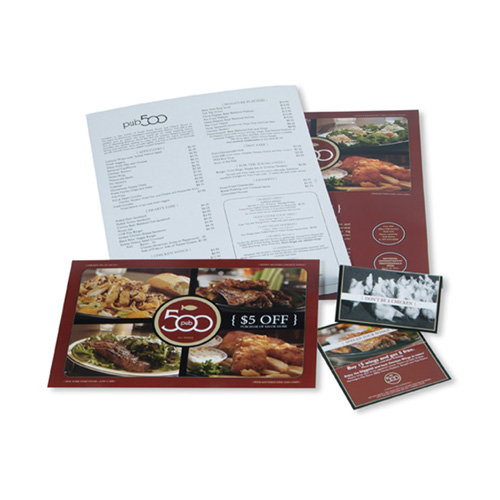 Marketing Material Design - Pub 500 Menu Design