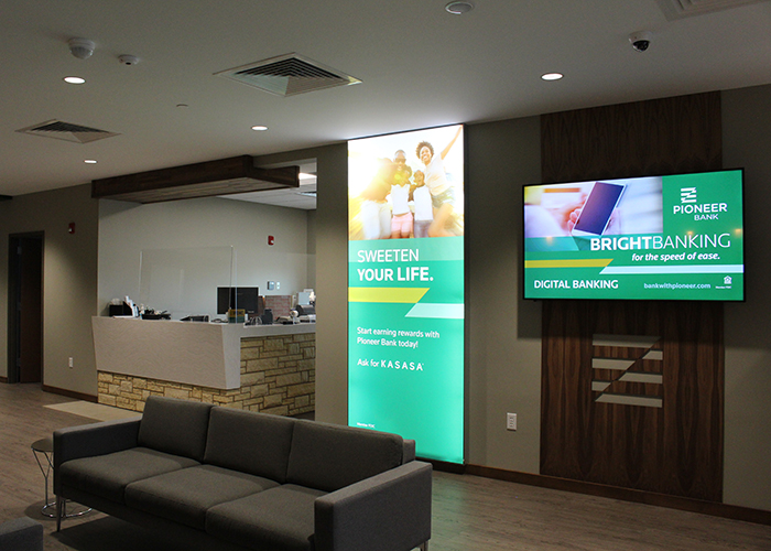 Pioneer Bank Branded Interior Sign Design and Installation